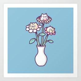 Flower felines Art Print