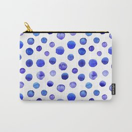 Blue polka dot watercolor pattern Carry-All Pouch