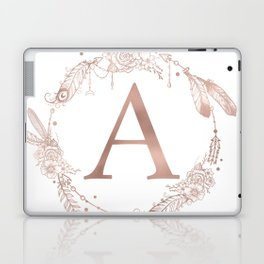 Letter A Rose Gold Pink Initial Monogram Laptop & iPad Skin