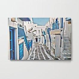 Mykonos Blue Shop Street Metal Print