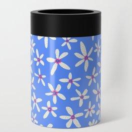 Blue Modern Blooms Can Cooler
