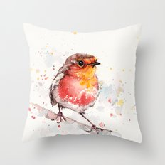 Adventure Awaits (Baby Robin Red Breast) Throw Pillow