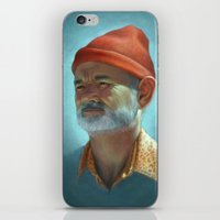 steve zissou iPhone & iPod Skins featuring Steve Zissou by Kate O'Hara Illustration