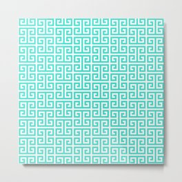 Turquoise and White Greek Key Pattern Metal Print