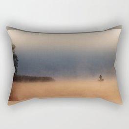 Fisher in foggy morning Rectangular Pillow