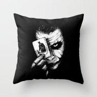 joker Throw Pillows featuring Joker by NickHarriganArtwork