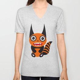 Funny orange monster Unisex V-Neck