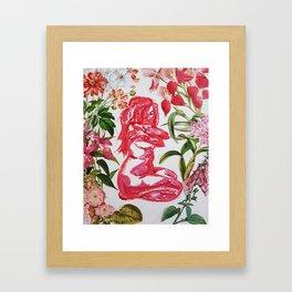 Feminine Vulnerability and Pink Flowers Framed Art Print