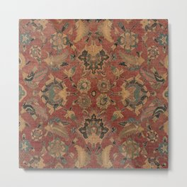 Flowery Boho Rug V // 17th Century Distressed Colorful Red Navy Blue Burlap Tan Ornate Accent Patter Metal Print