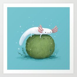 Axolotl on a Mossball Art Print