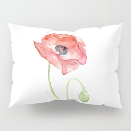 Red Poppy Watercolor Flower Floral Abstract Pillow Sham