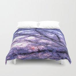 Periwinkle Lavender Flower Tree Duvet Cover