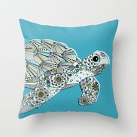 sea turtle Throw Pillows featuring Sea Turtle by Rachel Russell