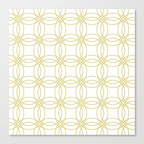 Simply Vintage Link Mod Yellow on White Canvas Print