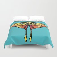 moth Duvet Covers featuring Moth by ChaoticWaffle