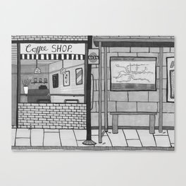 London Coffee Shop in Black and White Canvas Print