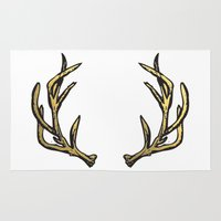 antlers Area & Throw Rugs featuring Antlers by Climbing Mountains
