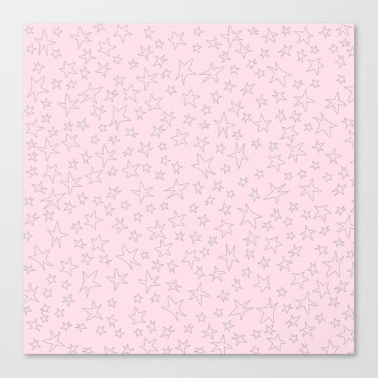 Grey handpainted little stars on pink background Canvas Print