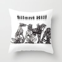 silent hill Throw Pillows featuring Silent Hill Hellhounds by nightriot