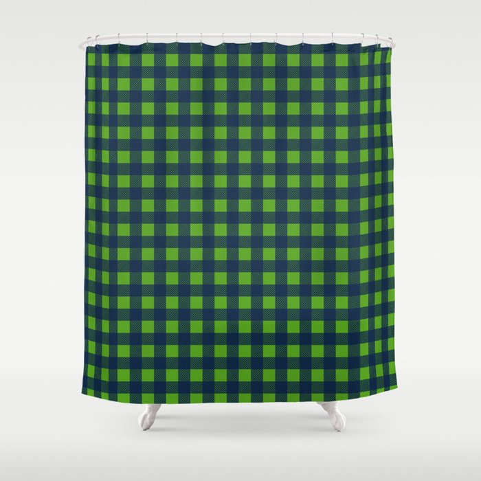 Buffalo Checks In Navy Blue And Lime Green Shower Curtain