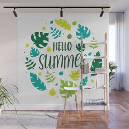 Hello Summer Lettering with Summer Leaves Wall Mural