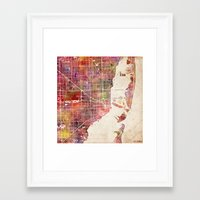 miami Framed Art Prints featuring Miami by MapMapMaps.Watercolors