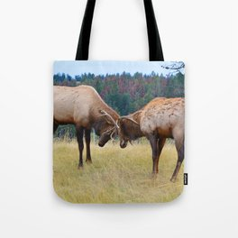 Bull elk in the rut season in Jasper National Park Tote Bag