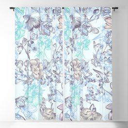 Vintage victorian style classic floral pattern in bue Blackout Curtain