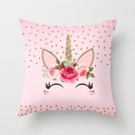 Pink & Gold Cute Floral Unicorn Throw Pillow