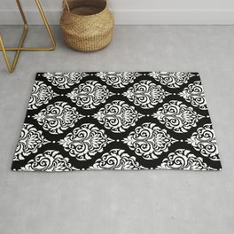Black Monochrome Damask Pattern Rug