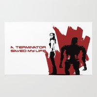 terminator Area & Throw Rugs featuring A Terminator Saved My Life by Scott Brian Woods