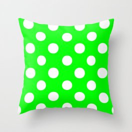 Polka Dots (White/Green) Throw Pillow