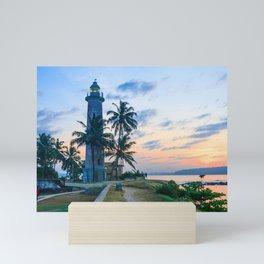 Galle fort lighthouse at sunrise, Galle, Sri Lanka Mini Art Print