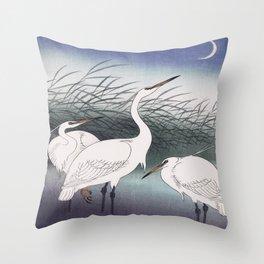 Herons Traditional Japanese Wildlife Throw Pillow