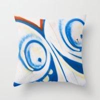 grafitti Throw Pillows featuring Grafitti Face by Leslie Philipp