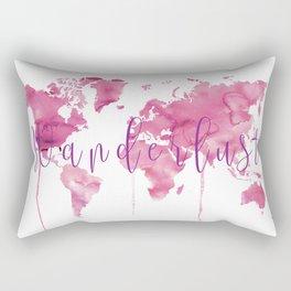 World Map Wanderlust - Pink Watercolor Rectangular Pillow