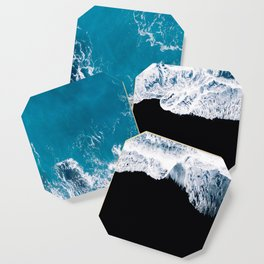 Black sand beach with waves and blue Ocean in Iceland – Minimal Photography Coaster
