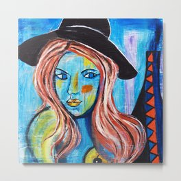 Blue Lady With Hat Metal Print