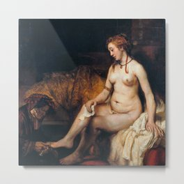 Rembrandt - Bathsheba at Her Bath Metal Print