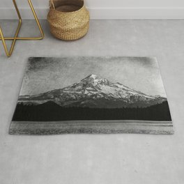 Mt Hood Black and White Vintage Nature Photography Rug