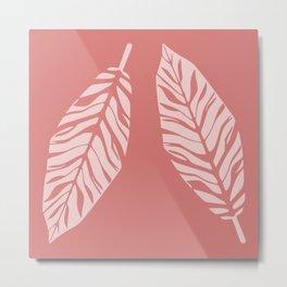 Tropical foliage Flamingo Pink #tropical #leaves #homedecor Metal Print