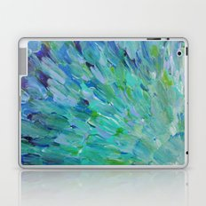SEA SCALES - Beautiful Ocean Theme Peacock Feathers Mermaid Fins Waves Blue Teal Color Abstract Laptop & iPad Skin