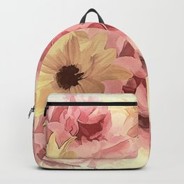Soft Hazy Day Spring Floral Bouquet Backpack