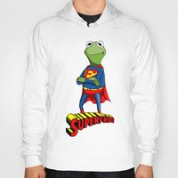 kermit Hoodies featuring Kermit the Superman by JoshEssel