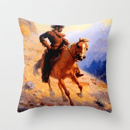 """William Leigh Western Art """"Looking For Strays"""" Throw Pillow"""