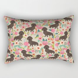 Doxie Florals - vintage doxie and florals gift gifts for dog lovers, dachshund decor, chocolate doxi Rectangular Pillow