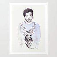 coconutwishes Art Prints featuring Louis and his deer by Coconut Wishes