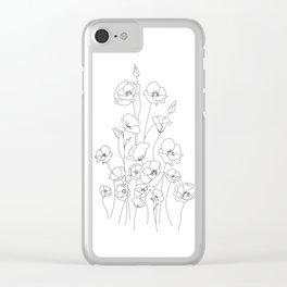 Poppy Flowers Line Art Clear iPhone Case