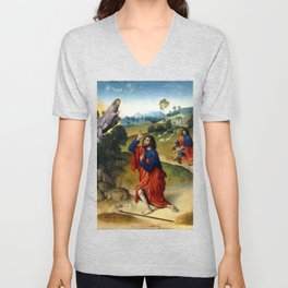 Dierick Bouts the Elder Moses and the Burning Bush, with Moses Removing His Shoes Unisex V-Neck