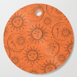 Orange Magic Celestial Sun Moon Stars Cutting Board